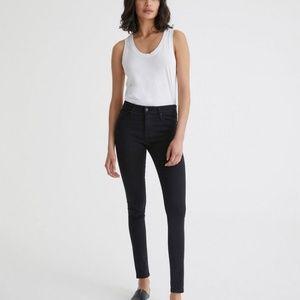 AG The Farrah High-Rise Skinny Ankle Overdye Black